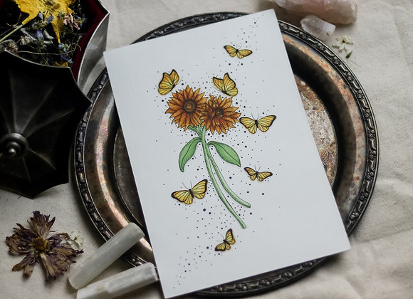 "Sunflowers & Butterflies 6""x8"" Original Illustration"