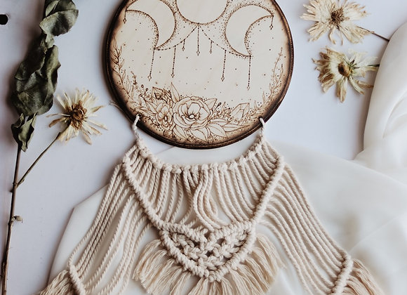 Moon Phase & Flowers Pyrography Macrame Wall Art