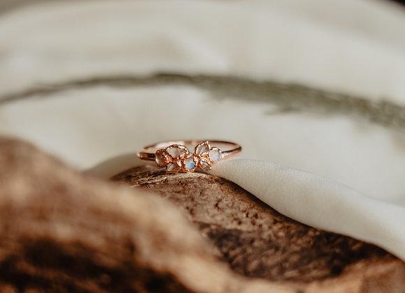 Moonstone & Herkimer Diamond Ring - Size 8