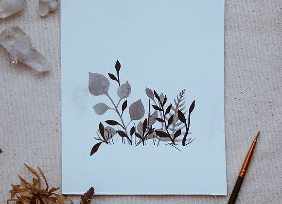 """Black and White Leaves 4.5""""x6"""" Watercolor"""