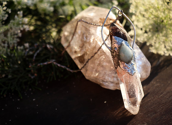 Quartz, Smoky Quartz & Aquamarine Necklace