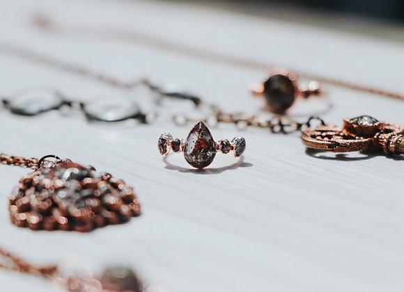 Size 8 - Rose Petal and Garnet Ring