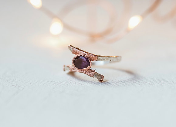 Sterling Silver & Copper Amethyst Ring - Size 9
