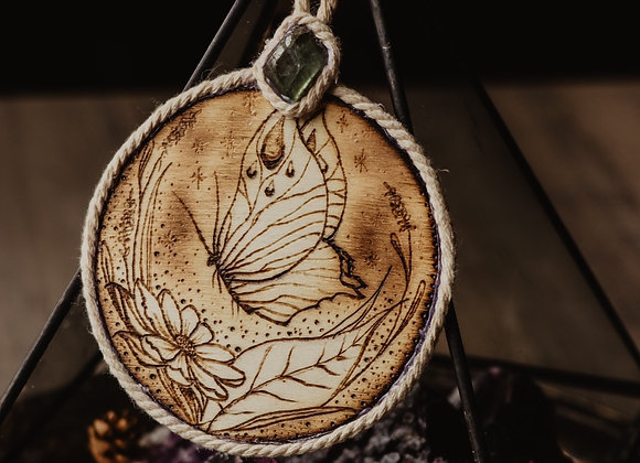 Butterfly Pyrography Wall Art with Labradorite