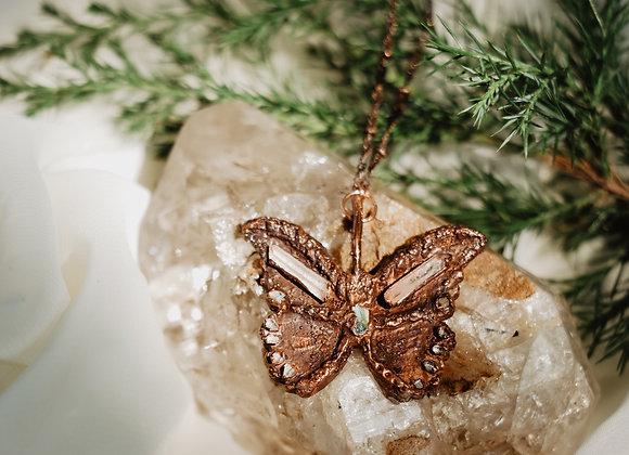 Quartz, Opal & Herkimer Diamond Butterfly Necklace