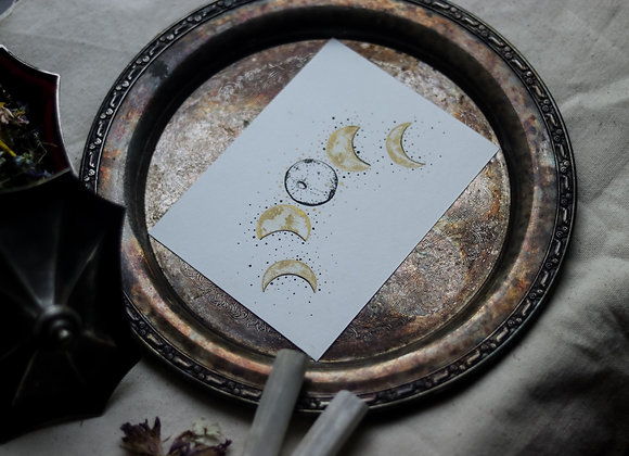 "Moon Phases 4.5""x6"" Original Illustration"