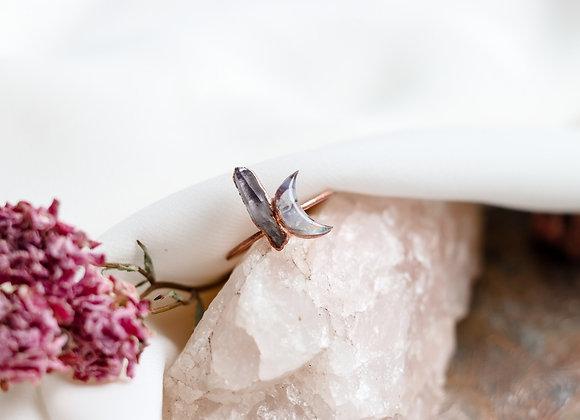Opal Chip & Flower Petal Moon & Amethyst Ring