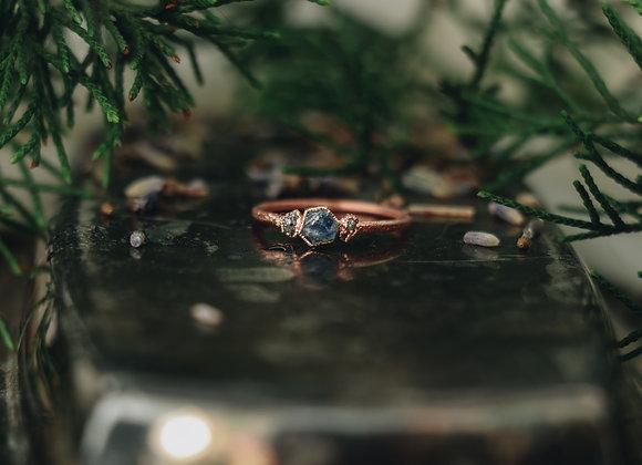 Sapphire & Raw Diamond Ring - Size 6.5