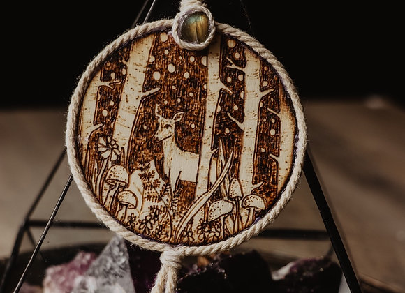Forest at Night Pyrography Wall Art with Labradorite