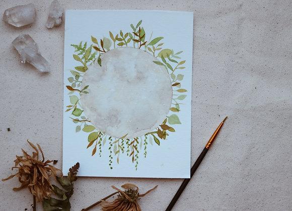 "'Living Moon' 4.5""x6"" Watercolor"