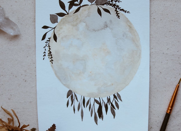 "'Leaves & Moon' 4.5""x6"" Watercolor"