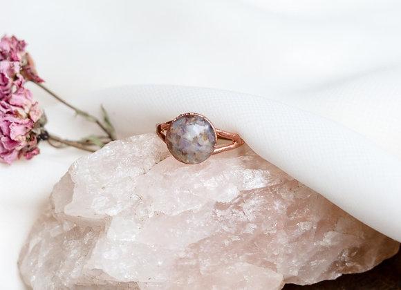 Opal Chip & Flower Petal Ring