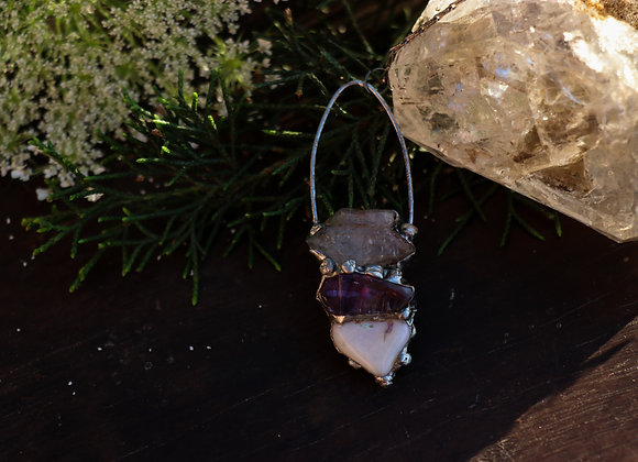 Tibetan Quartz, Amethyst & Opal Necklace