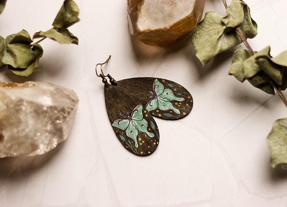 Handpainted Luna Moth Earrings