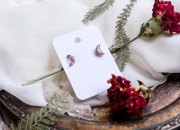 Opal Chip & Flower Petal Moon Earrings