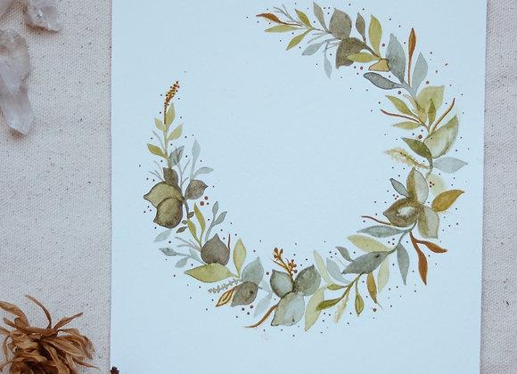 "'Moon of Leaves' 6""x8"" Watercolor"