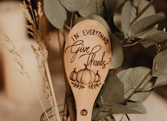 'Give Thanks' Bamboo Spoon