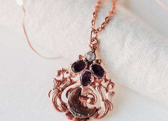 Moonstone & Amethyst Moon necklace