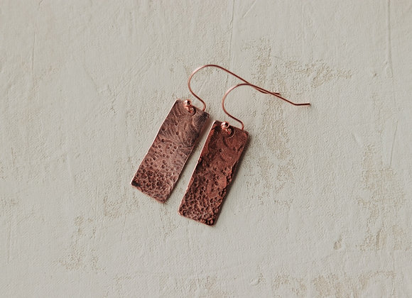 Copper Hammered Long Earring