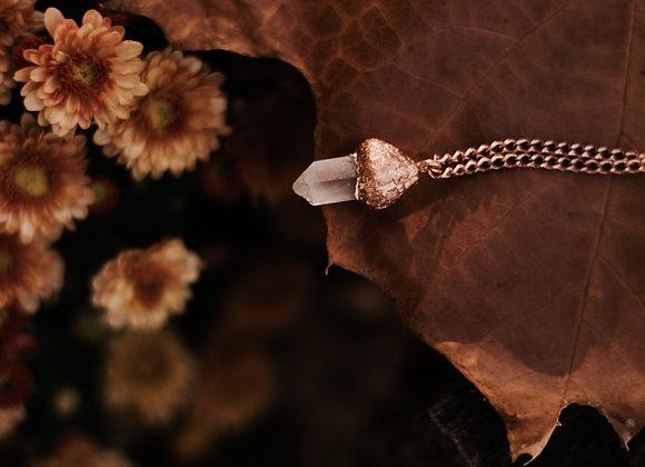 Acorn Cap Quartz Necklace