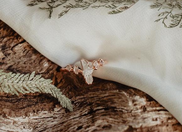 Quartz & Herkimer Diamond Ring - Size 9