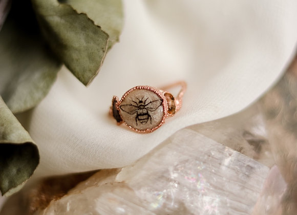 Bee Ring With Tourmaline