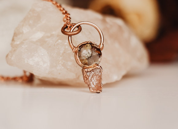 Rose Petal and Rose Quartz Necklace