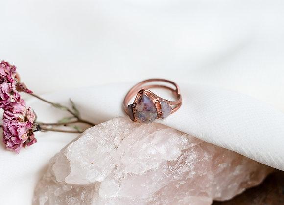 Opal Chip, Flower Petal, & Rose Quartz Ring