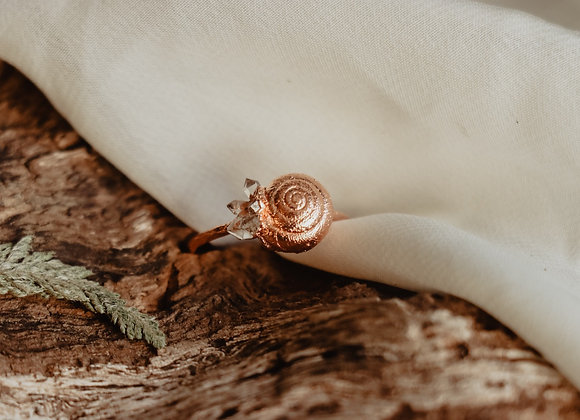 Snail Shell & Herkimer Diamond Ring