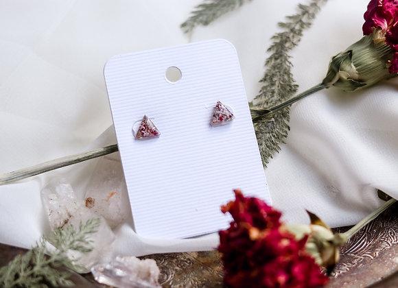 Opal Chip & Flower Triangle Earrings