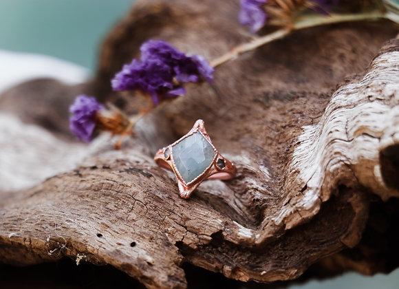 Aquamarine & White Topaz Ring - Size 7.75