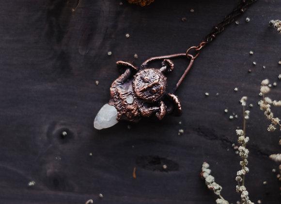 Moonstone Mushroom Owl Necklace