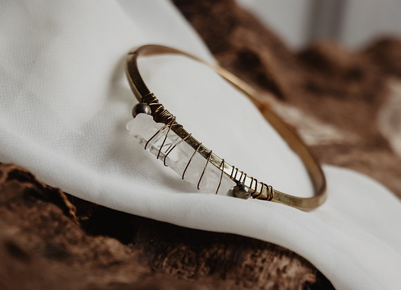 Brass, Quartz, & Pyrite Bracelet