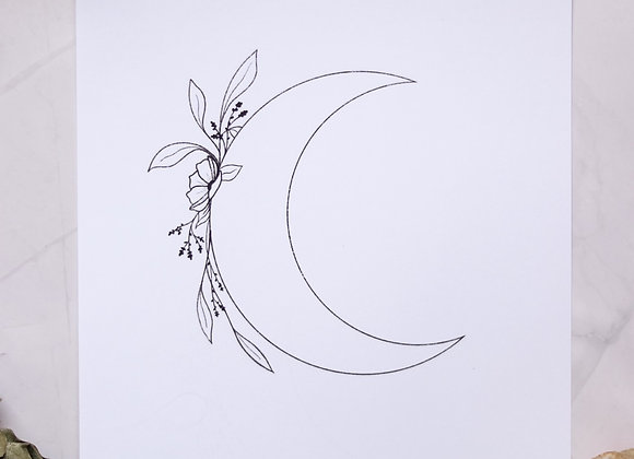 Moon & Flowers 8.5 x 11 Print