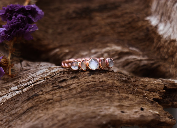 Moonstone & Opal Twisted Band Ring