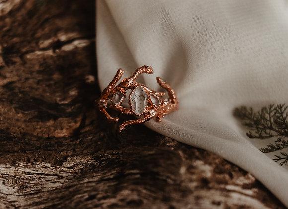 Petroleum Quartz & Herkimer Diamond Branch Ring