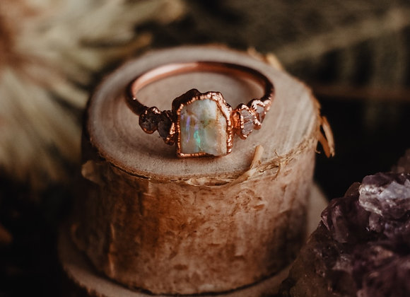 Opal & Herkimer Diamond Ring - Size 6