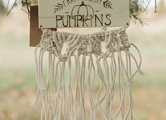 'Farm Fresh Pumpkins' Macrame Wall Art