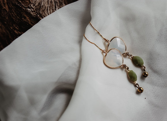 Opalescent and Green Earrings