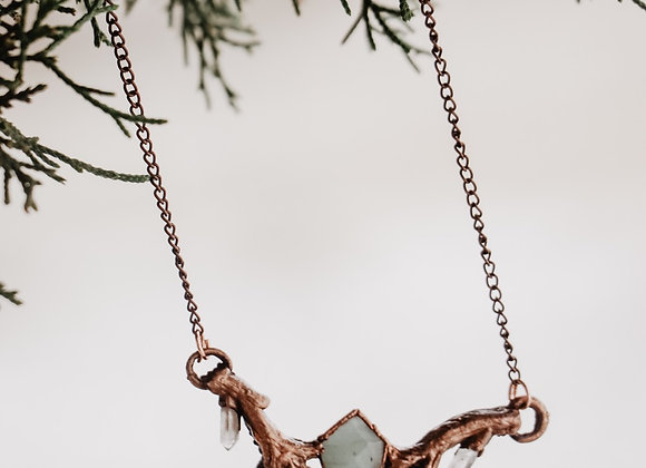 Auquamarine & Quartz Branches Necklace