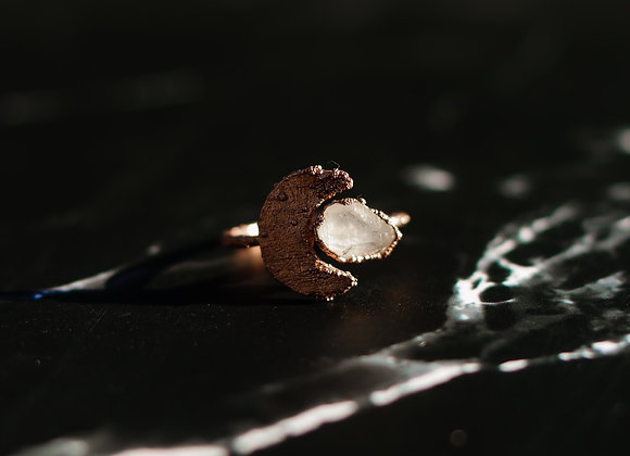 Moon & Quartz Ring - Size 8