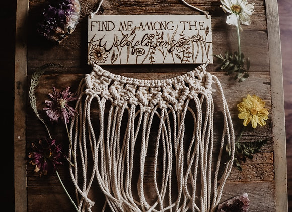 """Wildflowers"" Pyrography Macrame Wall Art"