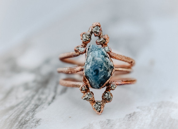 Blue Apatite and Pyrite Ring Set