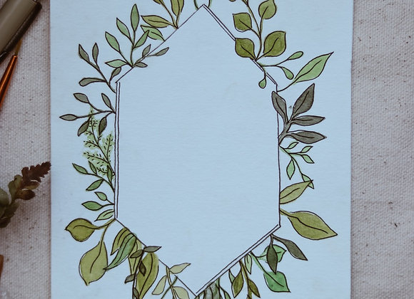 "Customizable 4.5""x6"" Leaf Border in Watercolor & Ink"
