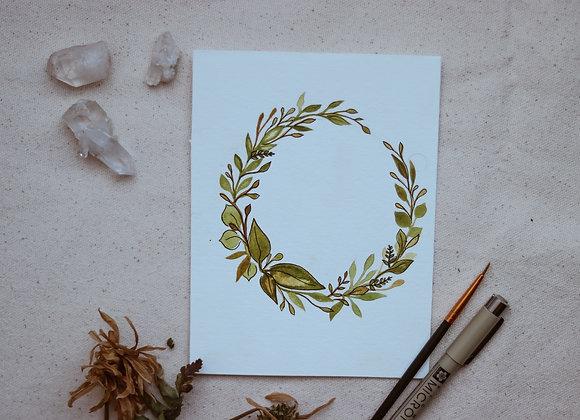 """'Leaves' 4.5""""x6"""" Watercolor & Ink"""