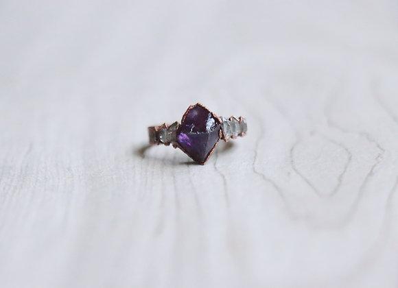 Amethyst & Herkimer Diamond Ring Size 7