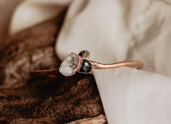 Emerald, Quartz, & Pyrite Bracelet