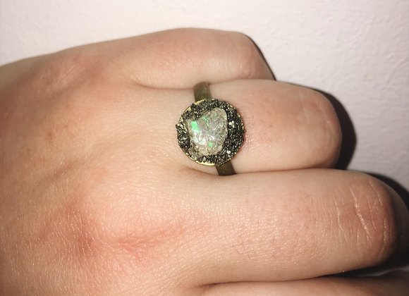 Adjustable Opal and Pyrite ring - Antique Bronze
