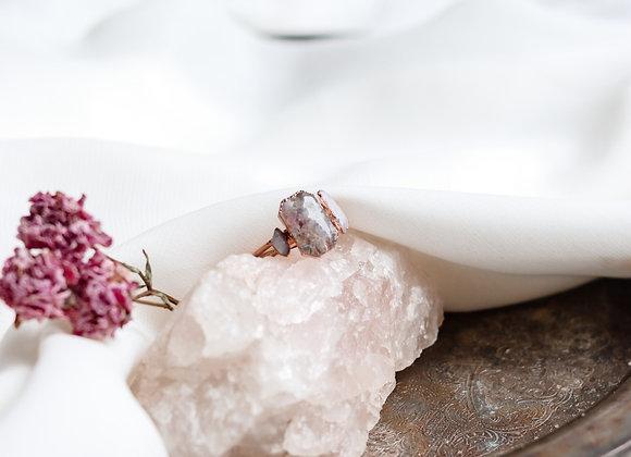 Opal Chip, Flower Petal, Amethyst, & Rose Quartz Ring