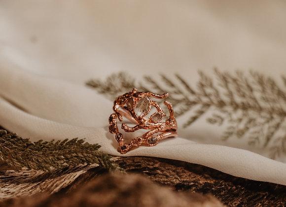 Petroleum Quartz, Herkimer Diamond, & Raw Diamond Ring Set - Size 8.25